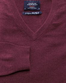 Wine cotton cashmere v-neck sweater