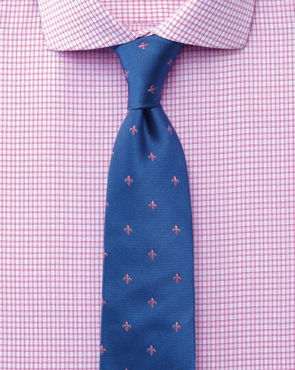 Extra slim fit cutaway collar non-iron dobby check pink shirt