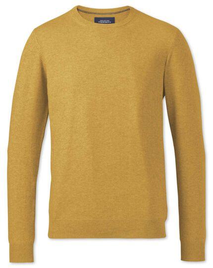 Yellow merino wool crew neck sweater