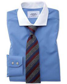 Slim fit spread collar non-iron poplin blue Winchester shirt