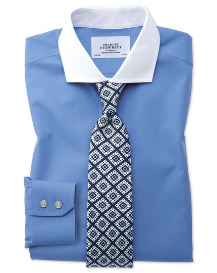 Extra slim fit cutaway collar non-iron Winchester blue shirt