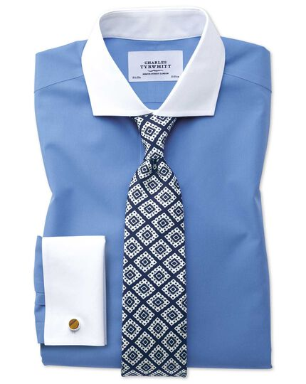 Extra slim fit spread collar non-iron Winchester poplin blue shirt