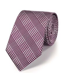 Berry silk classic Prince of Wales check tie