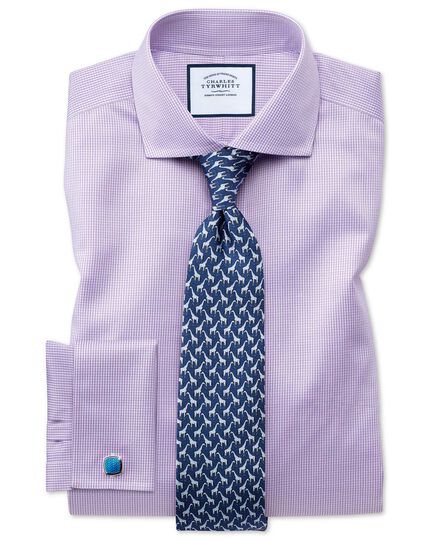 Slim fit spread collar non iron puppytooth lilac shirt