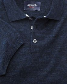 Navy blue heather short sleeve polo collar jumper