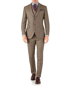 Costume de luxe brun clair en sergé britannique slim fit à carreaux