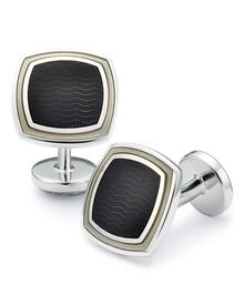 Black wave square enamel cuff links