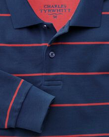 Classic fit blue and pink striped pique long sleeve polo shirt