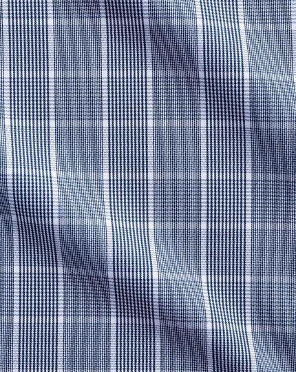Bügelfreies Extra Slim Fit Hemd mit Button-down Kragen in Marineblau und Weiß mit Mini-Karo