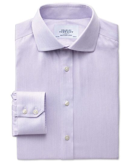 Extra slim fit spread collar non-iron mouline stripe lilac shirt