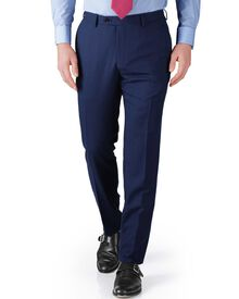 Blue slim fit basketweave business suit pants