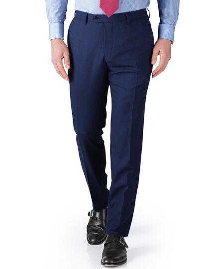 Blue slim fit basketweave business suit trousers
