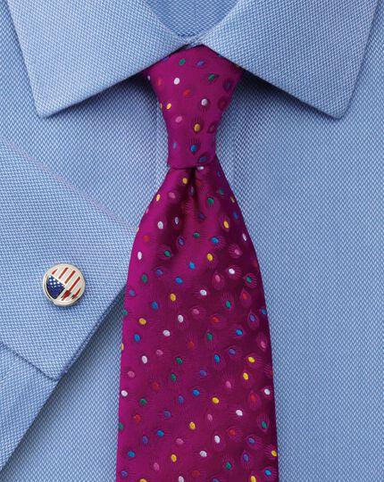 Extra slim fit non-iron mini herringbone blue shirt