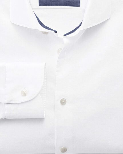 Slim fit cutaway collar business casual linen cotton white shirt
