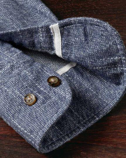 Extra Slim Fit Hemd aus Slub-Baumwolle in Blau und Weiß
