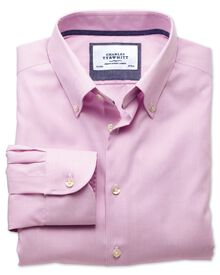 Classic fit button-down collar non-iron business casual pink shirt