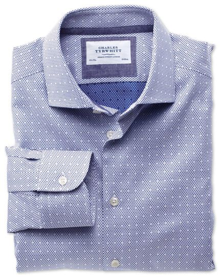 Slim fit semi-spread collar business casual dark blue shirt
