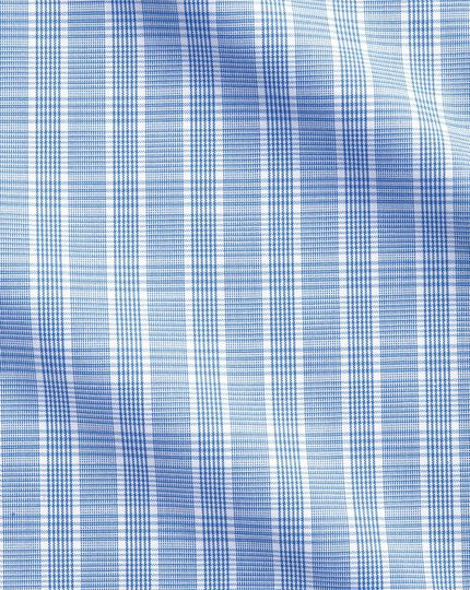 Bügelfreise Classic Fit Business-Casual Hemd mit Button-down Kragen in Hellblau mit Prince-of-Wales-Karos