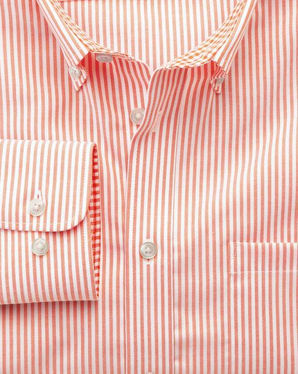 Bügelfreies Slim Fit Oxfordhemd in orange mit Bengal-Streifen