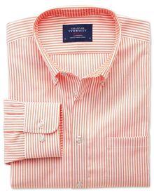 Extra slim fit non-iron Oxford orange bengal stripe shirt