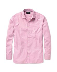 Slim fit pink and white mini check coupé shirt