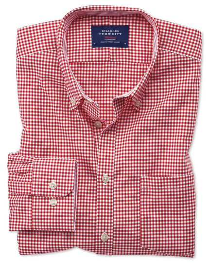 Slim fit button-down non-iron Oxford gingham red shirt