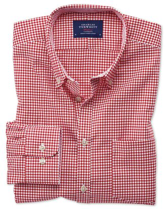 Extra slim fit button-down non-iron Oxford gingham red shirt