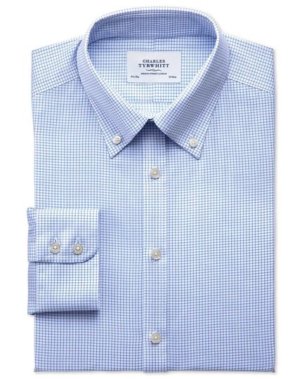 Slim fit button down non-iron twill grid check sky blue shirt