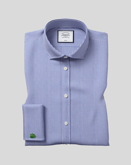 Extra slim fit spread collar non-iron Bengal stripe navy blue shirt