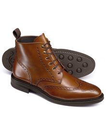 Brown Woolston brogue wing tip boots