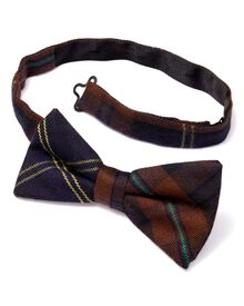 Brown silk classic country check ready-tied bow tie
