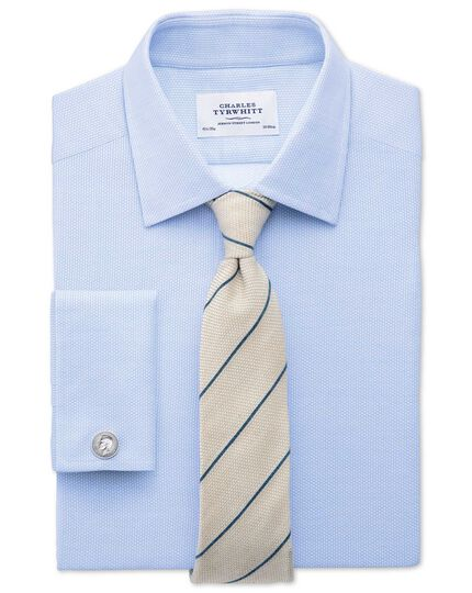 Classic fit Egyptian cotton diamond texture sky blue shirt