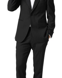 Black classic fit peak lapel tuxedo suit