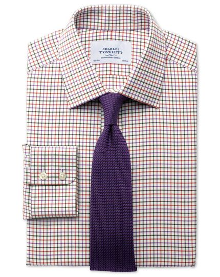 Slim fit country check purple and orange shirt