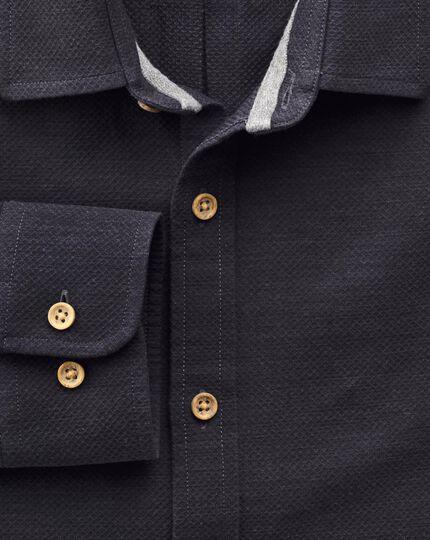 Slim fit navy textured piqué shirt