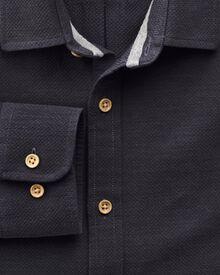 Extra slim fit textured piqué navy shirt