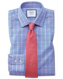 Slim Fit Hemd in Blau mit Prince-of-Wales-Karos