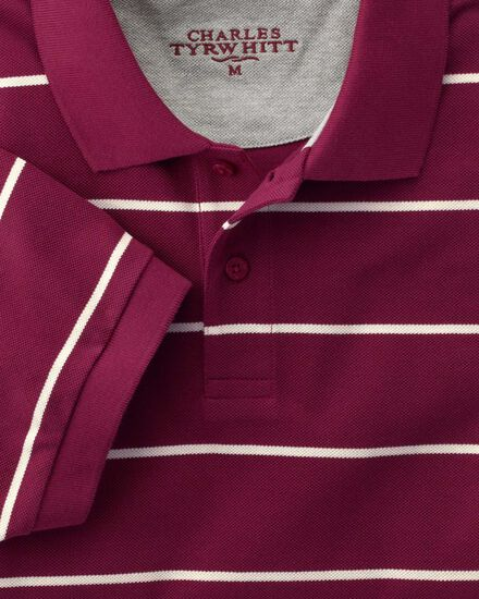 Wine and white stripe pique polo