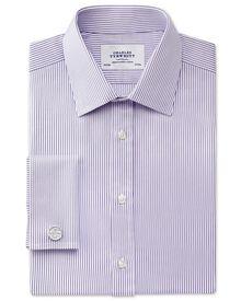 Extra slim fit Bedford raised stripe lilac shirt