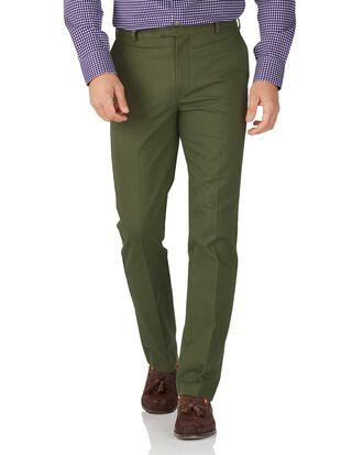 Bügelfreie Slim fit Chino Hose ohne Bundfalte in Grün