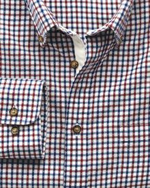 Classic fit burgundy and blue check brushed dobby shirt