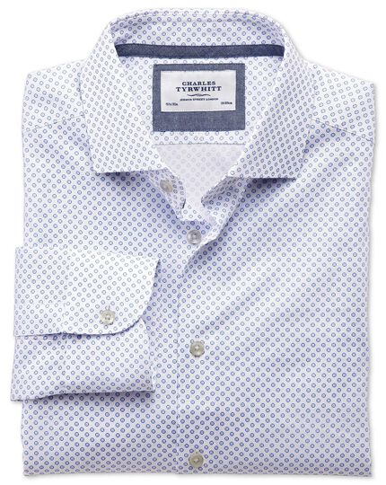 Slim fit semi-cutaway collar business casual blue and pink circle print shirt