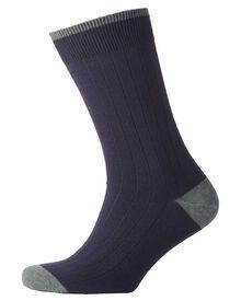 Dark navy ribbed socks