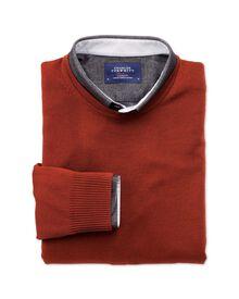 Burnt orange merino wool crew neck jumper