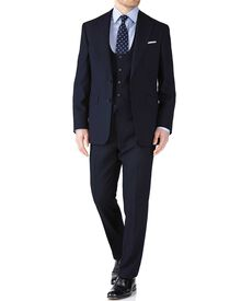 Navy classic fit herringbone business suit