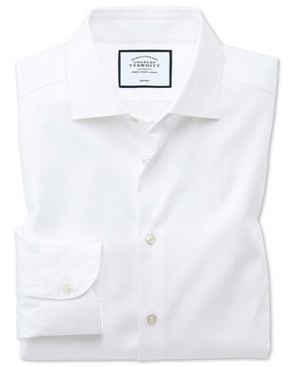 Slim fit semi-cutaway business casual non-iron modern textures white shirt