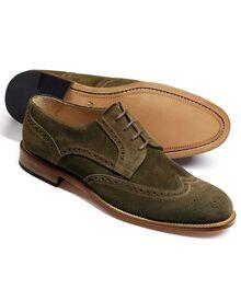 Mornington Budapester Derby-Schuh mit Flügelkappen aus Veloursleder in olivgrün