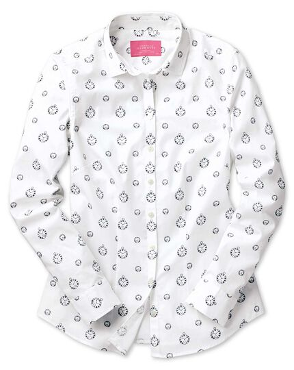Women's semi-fitted black and white clock print shirt