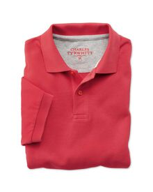 Classic fit salmon pique polo shirt