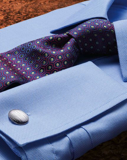 Slim fit non-iron micro spot sky blue shirt